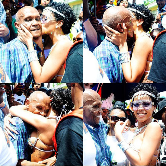 Rihanna Dances with her Grandfather