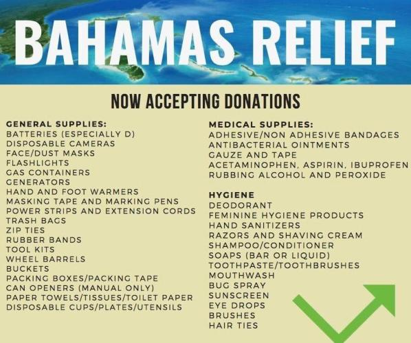Bahamas Relief Items