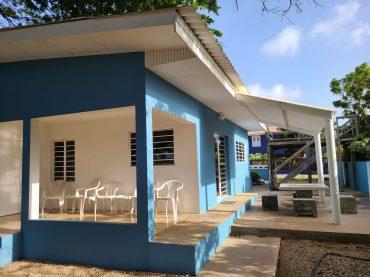 Blue house porch