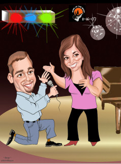 Singing wedding proposal caricature
