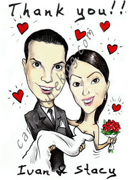 caricature wedding thank you card
