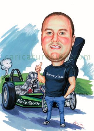 drag racer caricature