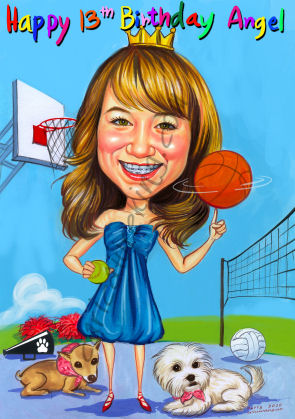 girl birthday gift caricature