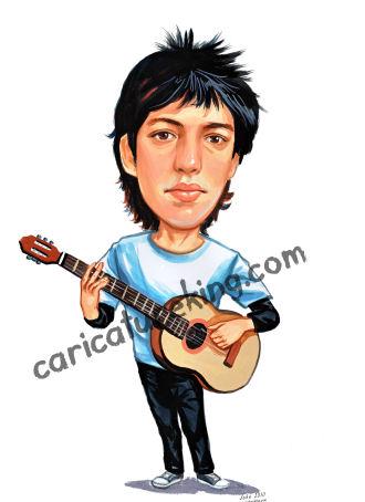 guitar player caricature
