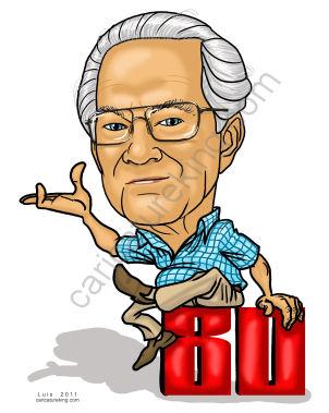 80th birthday caricature