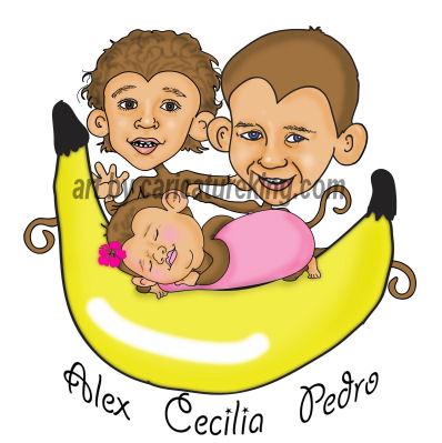 caricature of children as monkeys