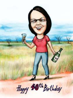 40th birthday gift caricature idea