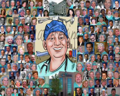 caricature with montage