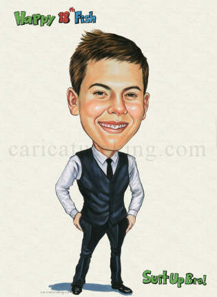 18th Birthday Gift Caricature For A Well Dressed Young Man