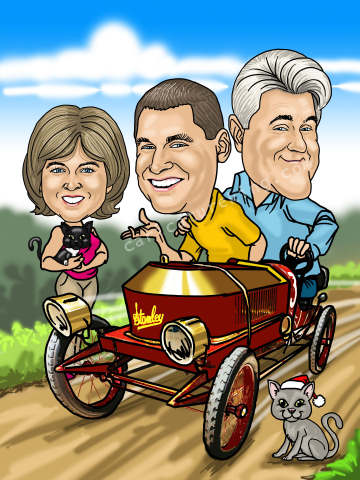 jay leno caricature with friends