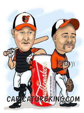 two baseballers and beer can caricature