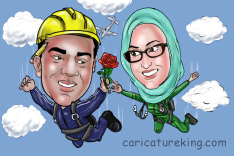 sky-diving-couple-caricature