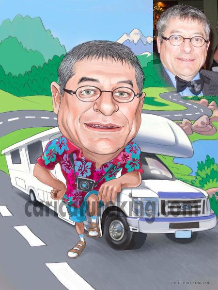 retirement gift caricature