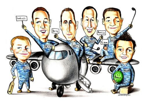military graduation team gift caricature