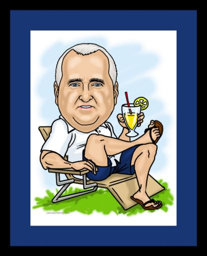 Relaxing-man retirement art gift from caricatureking.com