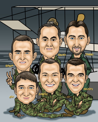 Course completion caricature