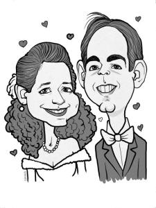 BW wedding caricture art