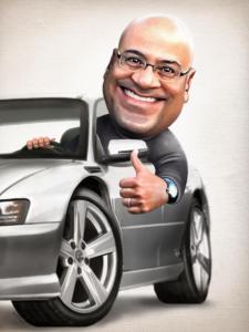 man in car caricature