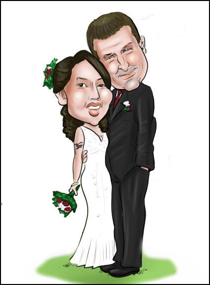 wedding couple custom cartoon art