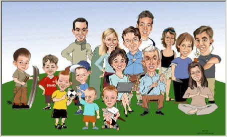 Family caricature by artist George