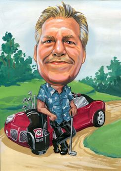 gift for the golfer is a caricature