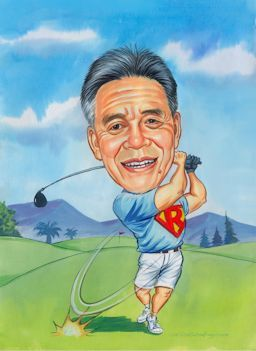 golfing gift caricature by John