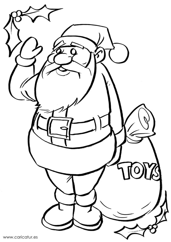 Blank drawing of Santa for colouring in