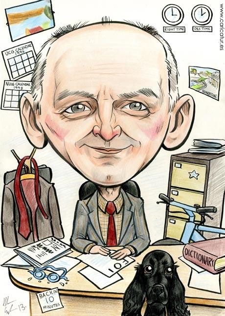 Retirement present caricature by Allan Cavanagh Caricatures Ireland