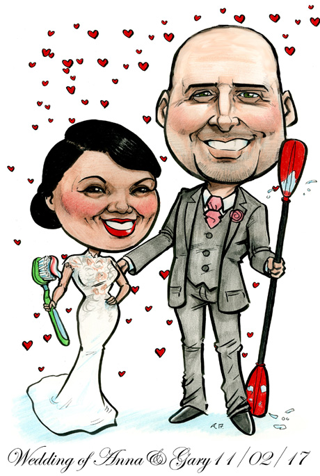 Wedding caricature by Allan Cavanagh