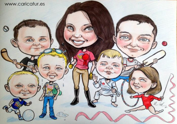 family caricature of seven children playing sports