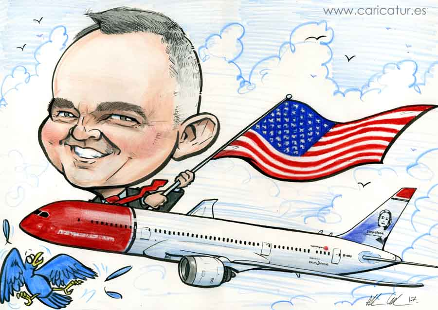Caricature of man in Norwegian Airlines plane waving an American flag by Allan Cavanagh