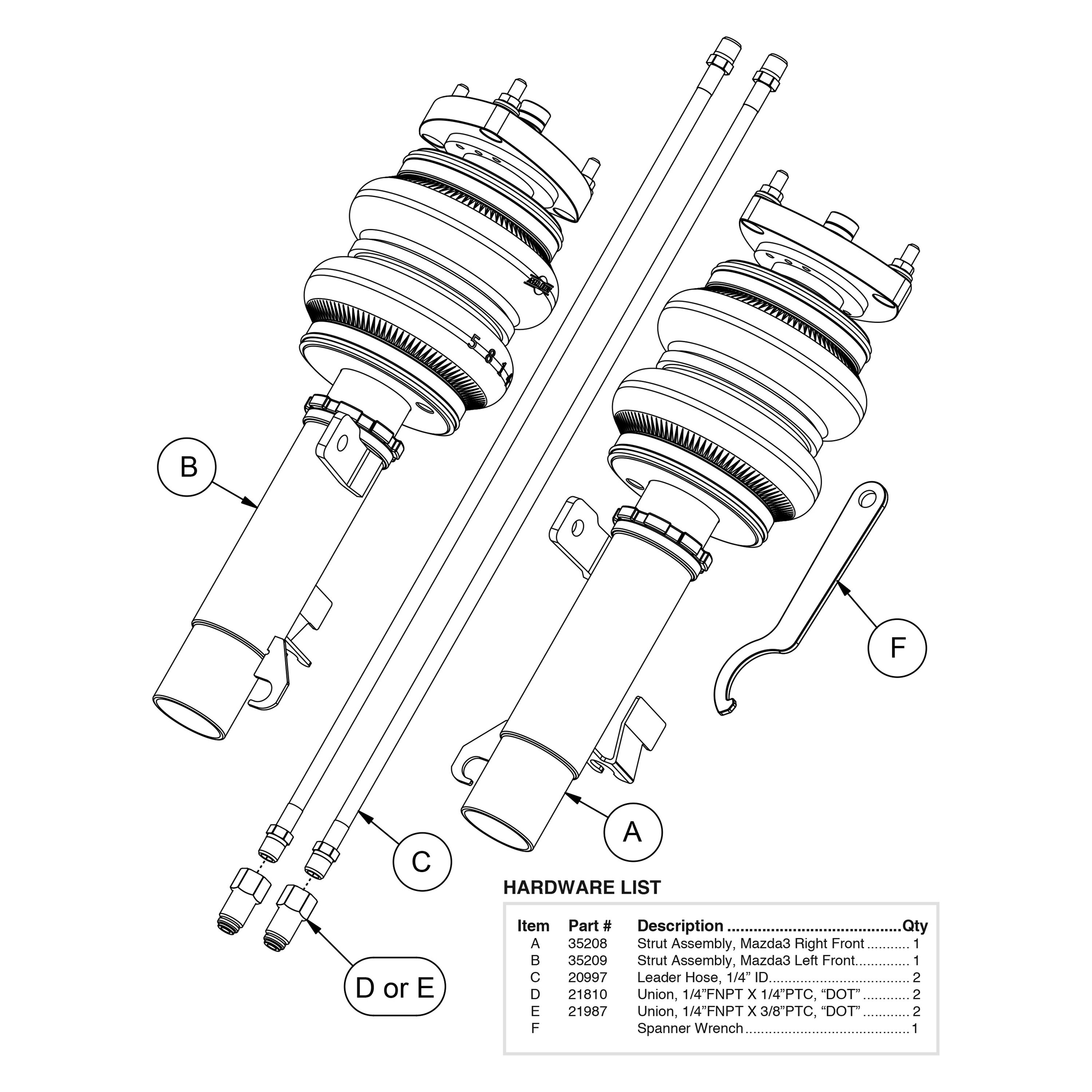 For Volvo C30 07 13 Air Lift 5 Front Performance Air