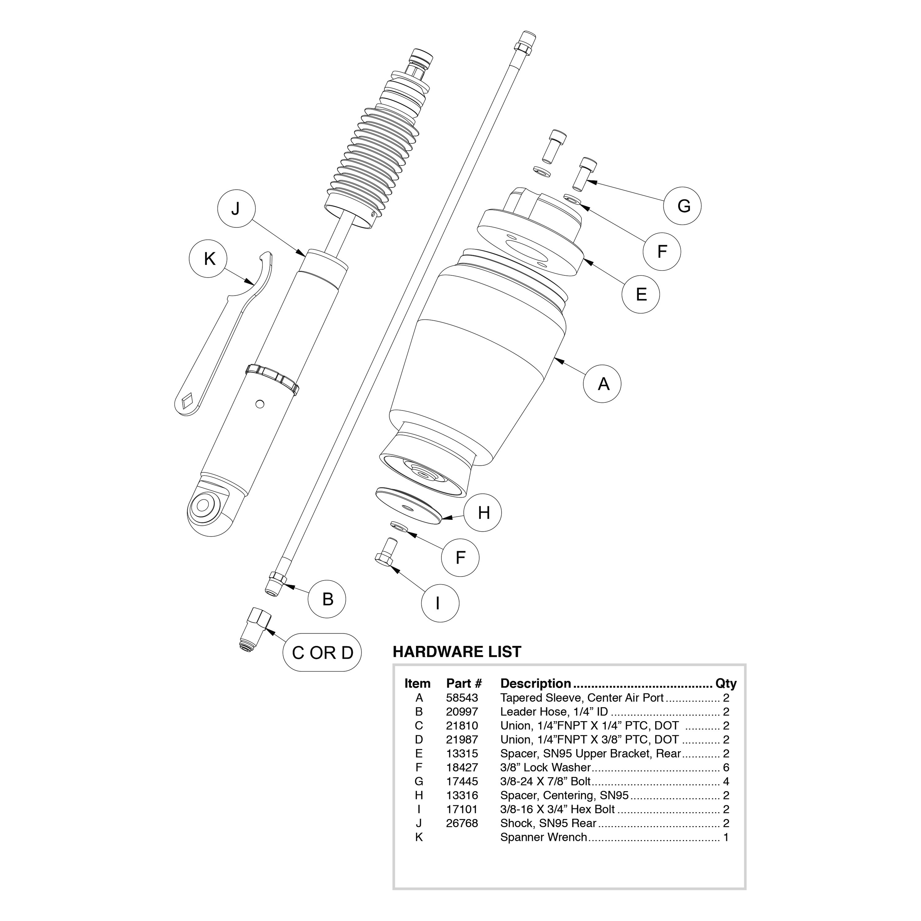 For Ford Mustang 94 04 5 8 Rear Performance Air