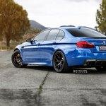 Blue Bmw 5 Series Rolling On Matte Black Strasse Wheels Carid Com Gallery