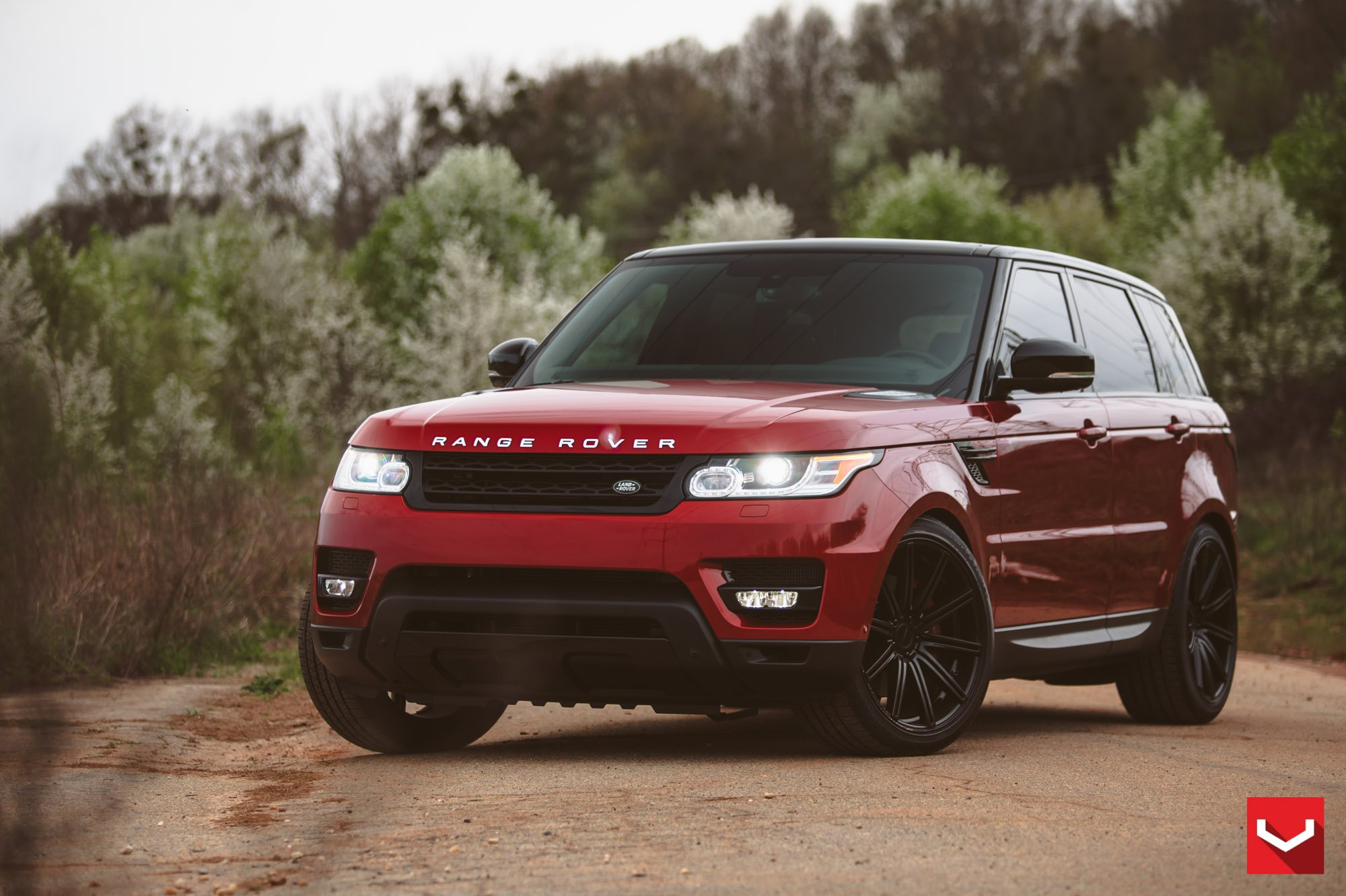 A Touch of Style for Red Land Rover Ranger Rover with Custom Parts