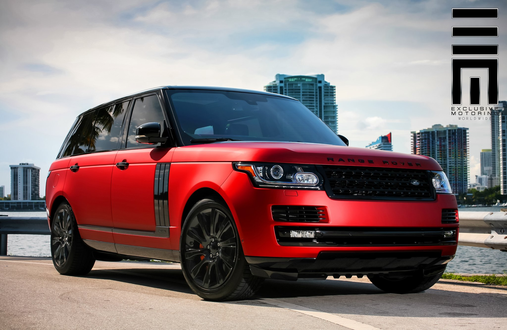 Red Matte Range Rover on Black Wheels by Exclusive Motoring
