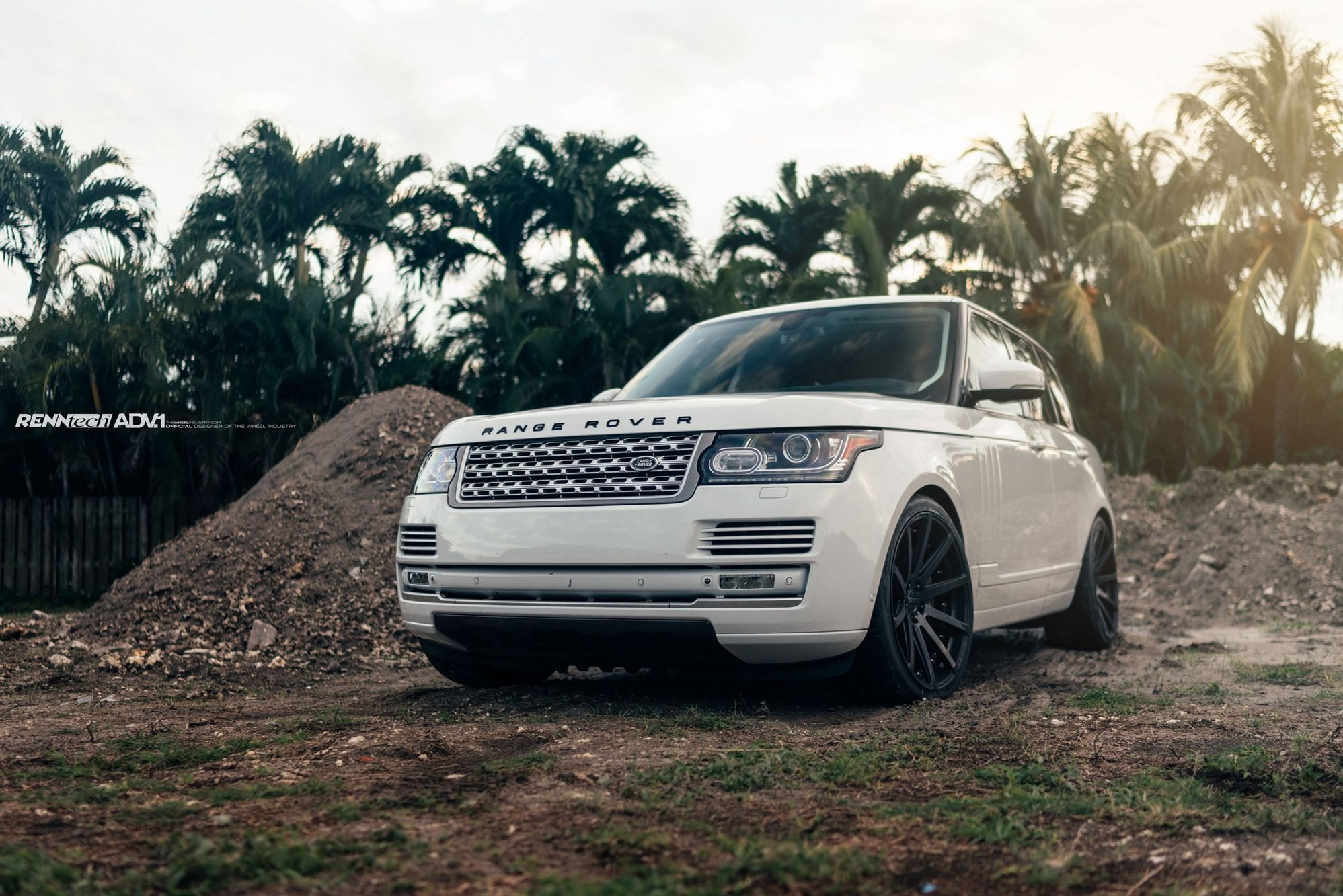 Lowered White Range Rover Sitting on Black ADV1 Wheels — CARiD