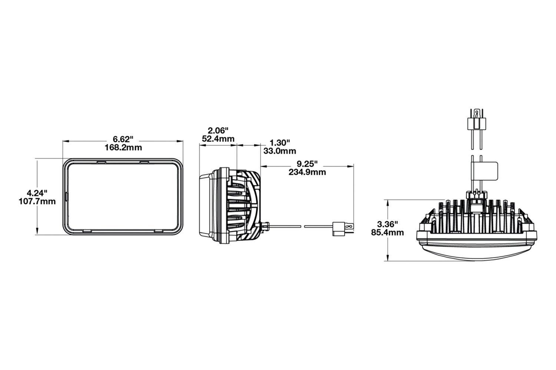 For Chevy C 03 09 Headlight 4x6 Rectangular Chrome