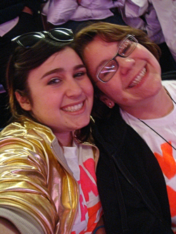 My daughter and me!  The gold jacket is a JoBro thing from one of their videos