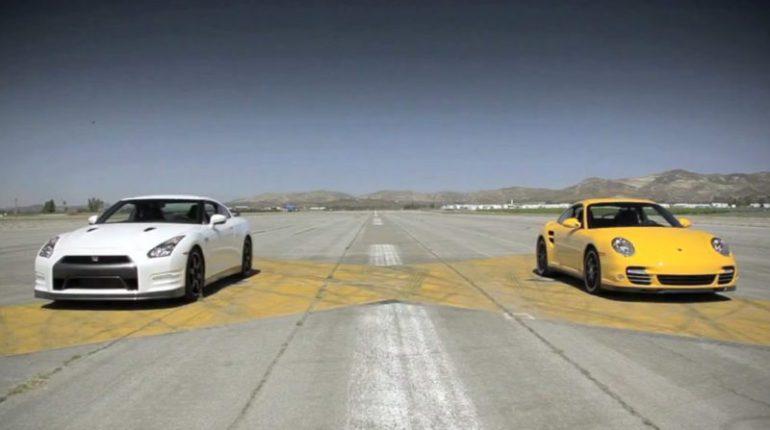 Vidéo course Porsche 911 turbo vs Nissan GT-R