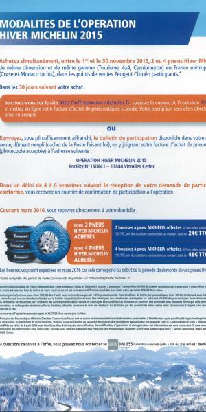 promo pneu neige Michelin novembre 2015 : les modalités