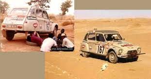 La Dyane de Christian Sandron affichait déjà 100 000 km au compteur avant de participer au premier rallye Paris Alger Dakar n 1979. Elle s'arrêtera malheureusement à Bamako