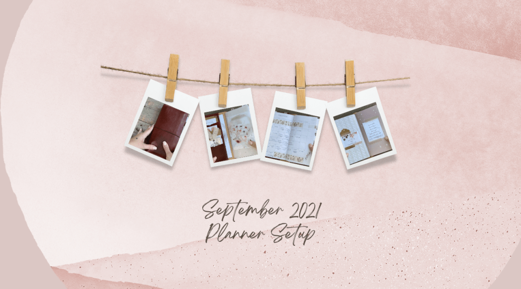 pink background with a decorative clothesline holding four small polaroid pictures of a planner