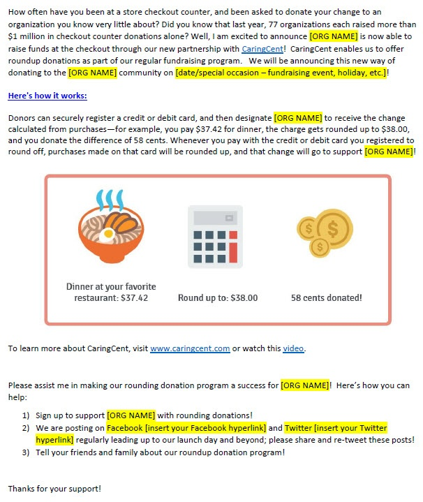 Intro to CaringCent staff letter