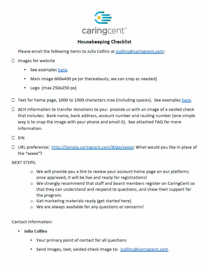 Launch Materials Checklist