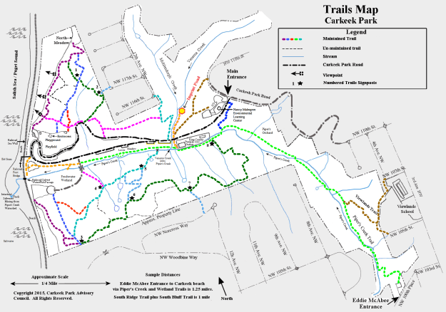 Carkeek Park Trails Map showing the locations of the Main Entrance, Nancy Malmgren ELC, Imprint Pond, and numerous park features.
