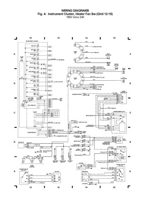 Volvo 240 (1993)  wiring diagrams  instrument cluster, heater fan SW (grid 12  15)  CARKNOWLEDGE