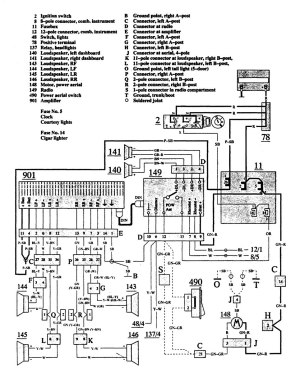 Volvo 940 (1991)  wiring diagrams  audio  CARKNOWLEDGE