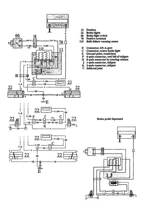 Volvo 940 (1991)  wiring diagrams  stop lamp  CARKNOWLEDGE