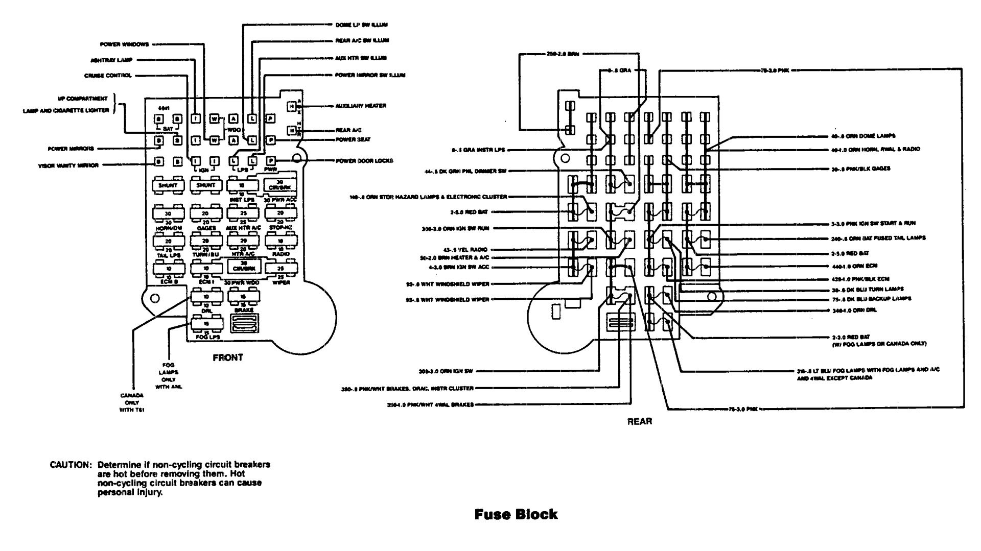Chevy Astro Van Fuse Panel Diagram